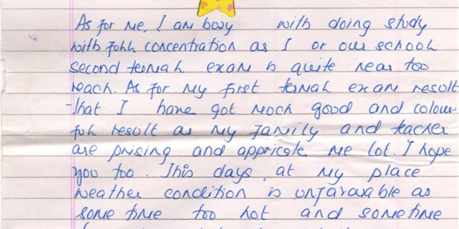 Lettre de Tenzin Thutop (2008, 8 ans)
