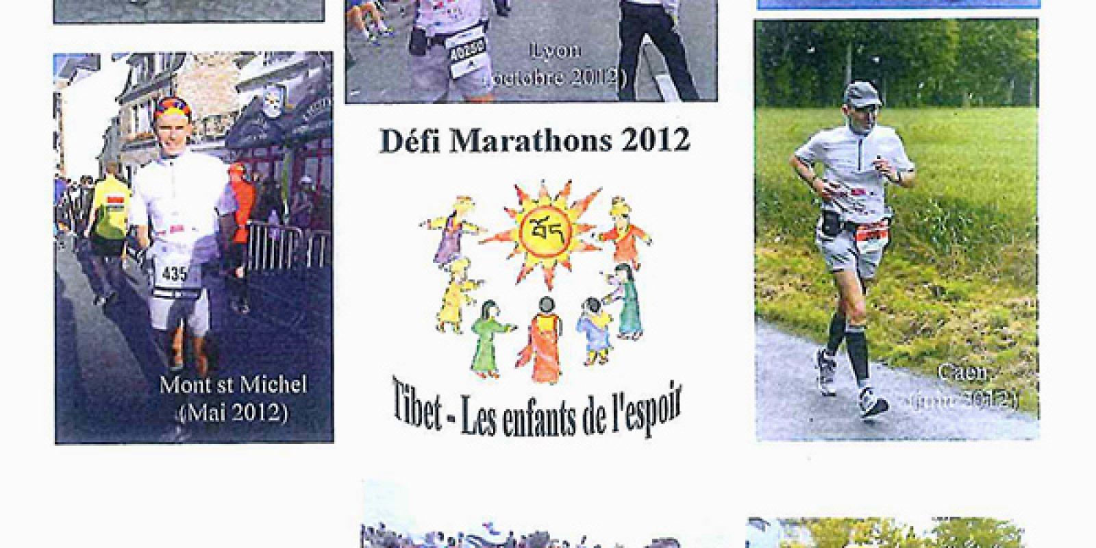 """Diverses courses de Philippe Bouron au défit marathon, aux couleurs de """"Tibet — les Enfants de l'Espoir"""""""